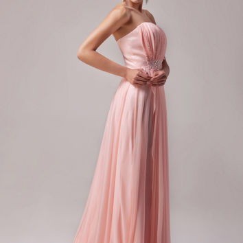 Pink Off Shoulder Beaded Flounce Maxi Dress