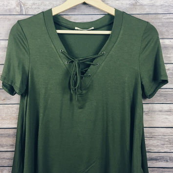 Claudia Lace Up Tee (Olive)