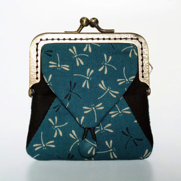 Wallet Haneki - japanese fabric 100%cotton -  Coin purse with dragonflies pattern