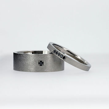 Palladium wedding band set with black diamonds, men black diamond ring, gothic, thin diamond ring, unique, modern, wide, engagement ring