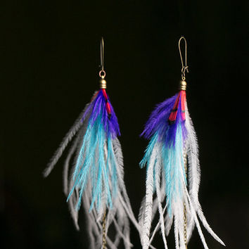 Ostrich feather earrings, white and turquoise long earring, real feathers, ostrich feathers, ethnic earrings, tribal jewelry, white feathers
