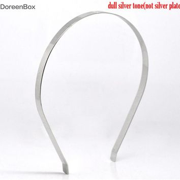 Doreen Box hot-  10 Silver Tone Headbands Hair Band 14.5x13.5cm 7mm wide (B12707)