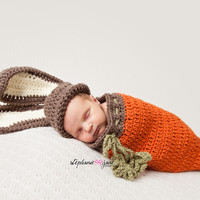 Newborn Baby Bunny Hat and Carrot Cocoon