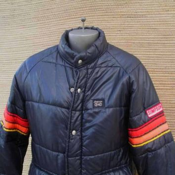 70s Vintage Simpson Racing Jacket black nylon puffer jacket M
