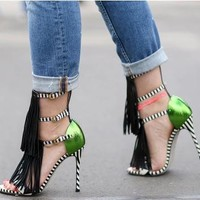 Tassels Open Toe Ankle Wrap Stiletto High Heels Sandals