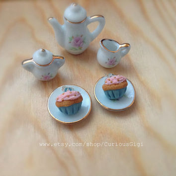 miniature pink cupcake earrings handsculpted polymer clay art,One of a kind collectible doll food jewelry, cute miniature food jewelry,