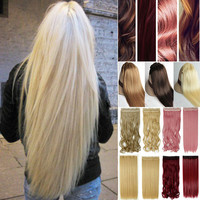 Free shipping 30inch Super Long one piece 5 clips in hair extensions amazing Straight synthetic hair for 3/4 full head