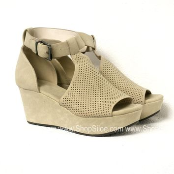 Suede Nude Wedges