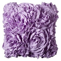 "Xhilaration® Jersey Ruffle Decorative Pillow - Purple (16x16"")"