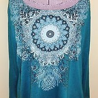 Women's Size XL 16-18 White Stag Teal Shirt Top