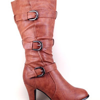 Tan Boot with Heel and Buckle Details