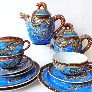 Oriental Cobalt Blue Teacup Trio, Moriage Satsuma Dragonware, Japanese, Cup Saucer Plate Teaware, Made in Japan, Oriental Dragon Asian Decor