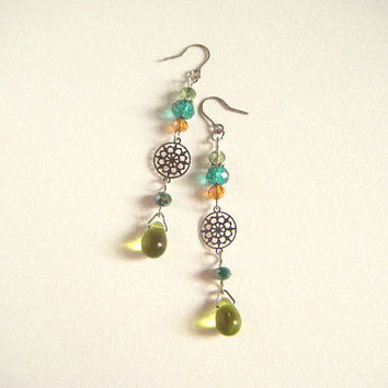 Green earrings with silver filigree, green earrings, green dangle earrings, green beaded earrings, gift for her, gift under 10, handmade.