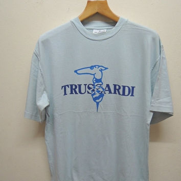 25% SALES ALERT Vintage 90's Trussardi Big Logo T Shirt Sport Street Wear Swag Hip Hop Top Tee Punk Rock Size L