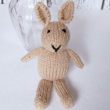 "Little Hand Knit Bunny Rabbit, Ready To Ship, Newborn Photo Prop, Stuffed Animal Baby Shower Gift, Small Stuffed Bunny, Nursery Toy 8"" Tall"