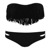 Tassel UP 2 PCS Bikini Padded Swimsuit