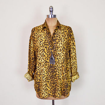 Vintage 80s 90s Brown Leopard Shirt Leopard Print Shirt Animal Print Blouse Top Button Up Shirt Slouchy Oversize Shirt Grunge Shirt S M L