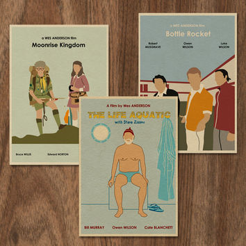 3 Wes Anderson 16x12 Movie Posters  Set 2 by MonsterGallery