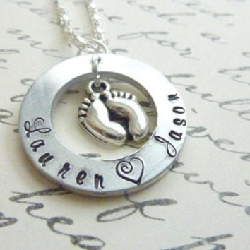Personalized Baby Shower Necklace New Mommy Baby feet Hand stamped Pregnancy Jewelry