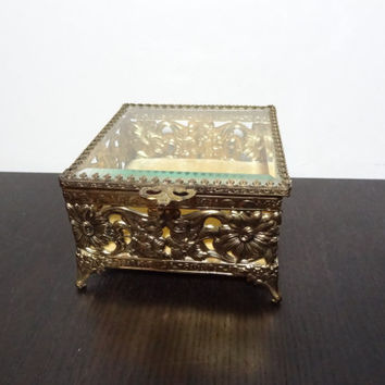 Antique Brass or Gold Plated Square Footed Jewelry Casket - Filigree with Beveled Glass and Floral Design -  Presentation/Display Box