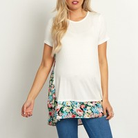 Ivory-Floral-Accent-Short-Sleeve-Top