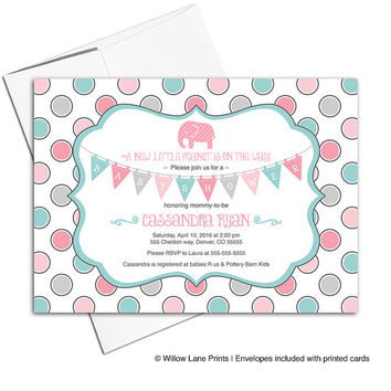 Printable elephant baby shower invitations for girls - gray, pink and aqua - girls baby shower invite with elephants - WLP00740