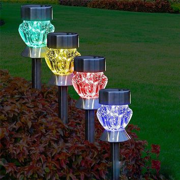 2PCS Waterproof Stainless Steel 1.2V Solar Outdoor Color Variable LED Garden Light Lawn Lamp Landscape Bulb Yard Garden Decor