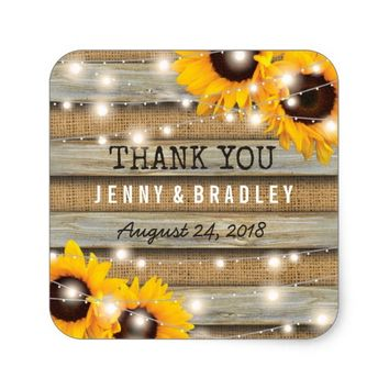 Rustic Country Sunflower Wedding | Burlap Wood Square Sticker