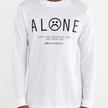 Youth Machine Alone Long-Sleeve Tee- White