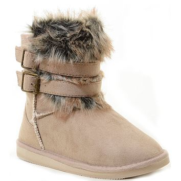 Super Furry Shearling Flat Eskimo Boots Women's Vegan Suede
