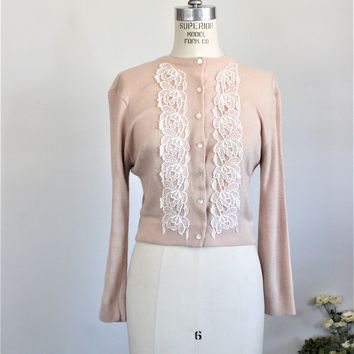 Vintage 1950s 1960s Beige Cardigan Sweater With Lace Trim