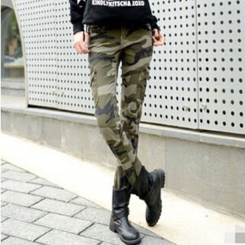 #0917 Hot sale Spring summer  camouflage pants women Skinny Casual Fashion Cargo pants Skinny Army pants for women
