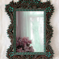 Large Wall Mirror - Hand Painted Brown Teal Mirror - Vintage Wall Mirror - Victorian Mirror - Gothic Mirror - Decorative Mirror