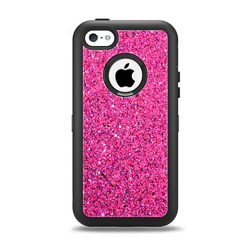 The Pink Sparkly Glitter Ultra Metallic Apple iPhone 5c Otterbox Defender Case Skin Set