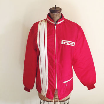Vintage, 1970s, Toyota, Satin, Hipster, Bomber Jacket, Mens Size Medium