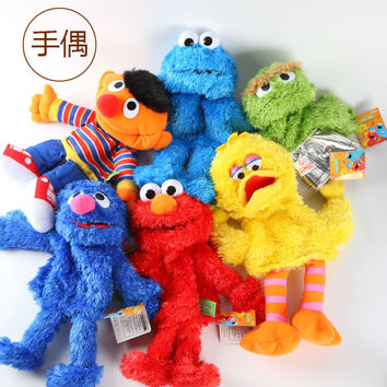Candice guo! super cute plush toy cartoon Sesame Street Elmo Grover cookie monster hand puppet kids birthday gift 1pc