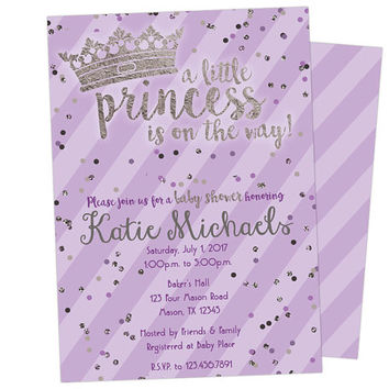 Purple Princess Baby Shower Invitation - Lavender and Silver Princess Baby Shower Invite - Tiara Little Princess Girl Baby Shower Invites