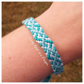 Teal Blue White Macrame Knotted Friendship Bracelet