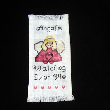 Cross Stitched Bookmark, Angels Watching Over Me, Counted Cross Stitch