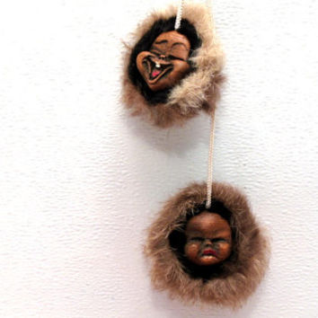 Alaska, Eskimo, Wood, Wall, Door, Happy, Sad, Face, Decor, Hanging, Figurine, Doll, Native, American, Ornament, Indian, Rear View Mirror, It