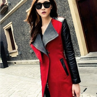 2014 New Women Lady Long Warm Leather Sleeve Turn-down Collar Patchwork Trench Coat 3Colors 18970|41001 = 1956226628