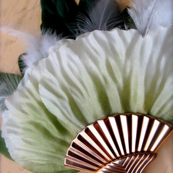 "Art Deco Fascinator, Feather Flower Hair Accessory, Green Hair Clip, Vintage Gold Hair Accessory, Art Deco Wedding - ""April in Paris"""