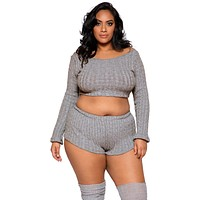 Sexy Wildest Dreams Plus Size Cosy Cable Knit Pajama Set