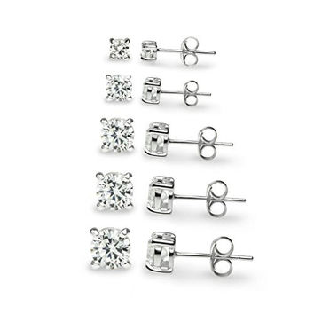 "River Island Jewelry -""5 Pairs"" Sterling Silver Round CZ Stone Cubic Zirconia Basket Stud Earrings 3mm, 4mm, 5mm, 6mm 7mm"