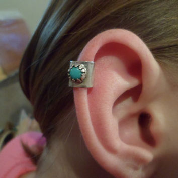 Authentic Navajo,Native American,Southwestern sterling silver turquoise ear cuff,cartilage ring.