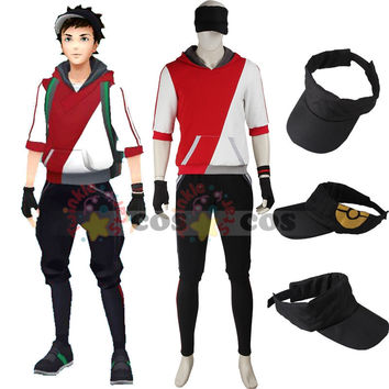 Pokemon Go cosplay costume Halloween costumes for adult men game Pokemon GO men Trainer suit with hat red hoodie shirt