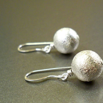 Brushed silver earrings sterling silver earrings by NatureLook