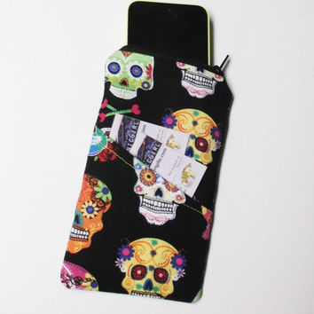Sugar Skull Zipper Phone Case - day of dead, Día de Muertos, halloween, gifts, girlfriend, sister, mom, stocking stuffer
