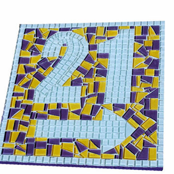 Address Sign with Arrow -- Outdoor House Number Sign -- Custom Mosaic