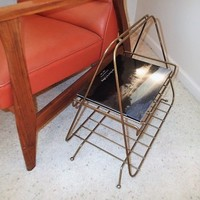 Vintage Mid Century Magazine Rack Record shelf  End table, ashtray stand. Book shelf table, accent table,' brass wire